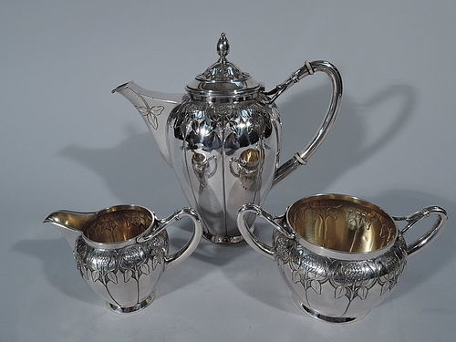 Wonderful Danish Art Nouveau Silver Coffee Service