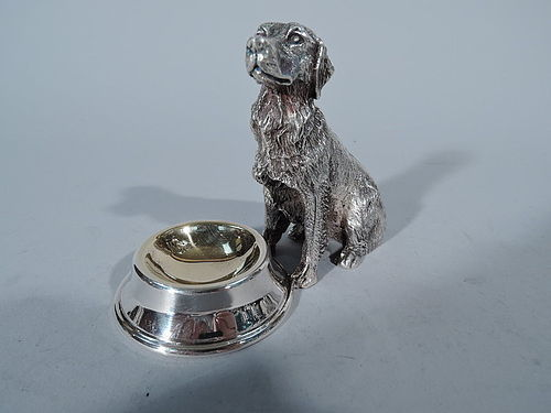 Sweet Golden Retriever - Figural Dog by Bowl Silver Plate Open Salt
