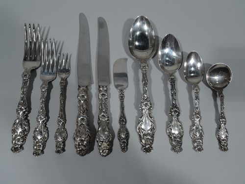 Antique Whiting Lily Sterling Silver Dinner Service
