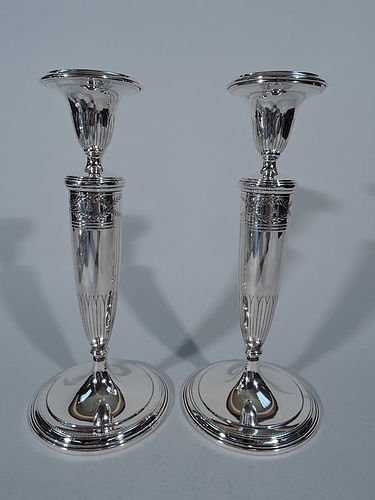 Pair of Tiffany Winthrop Sterling Silver Candlesticks