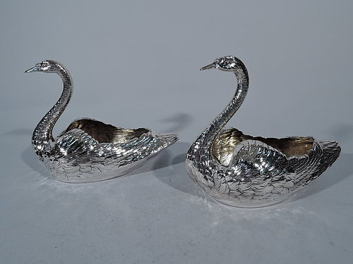 Pair of Antique American Sterling Silver Swan Bowls