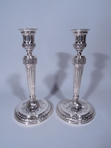 Pair of Antique Tiffany Neoclassical Sterling Silver Candlesticks