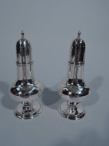 Pair of Antique Tiffany Sterling Silver Salt & Pepper Shakers