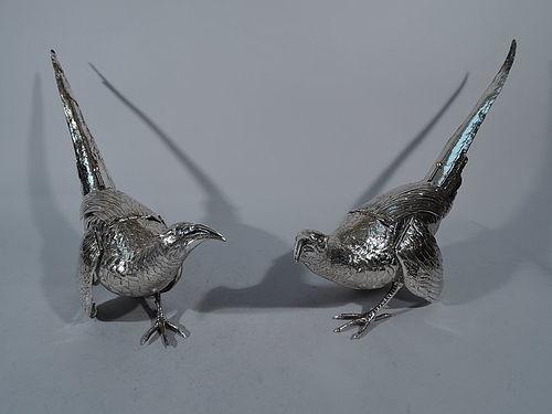 Pair of Antique German Sterling Silver Pheasants