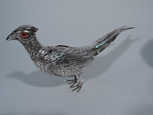 Antique Sterling Silver Pheasant Spice Box