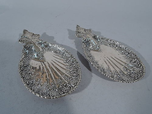 Pair of Antique Tiffany Rococo Sterling Silver Card Holders