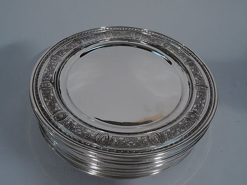 Set of 12 Antique International Wedgwood Sterling Silver Dinner Plates