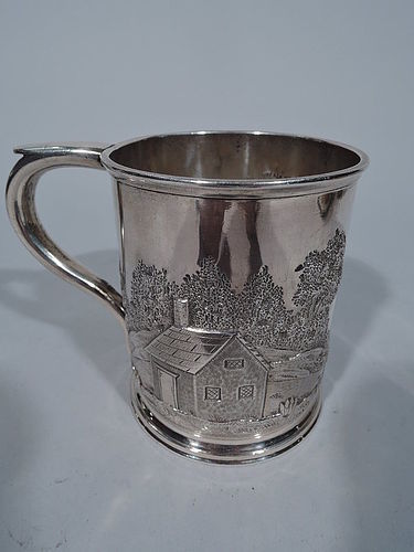 Home Sweet Home Coin Silver Baby Cup by George Foster of Boston
