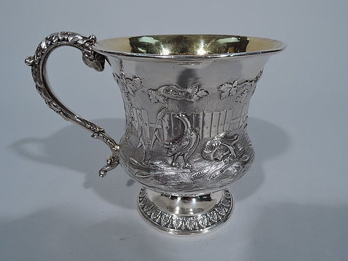 English Georgian Sterling Silver Baby Cup with Farmyard Fowl