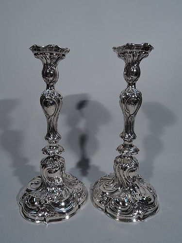 Pair of Tall Antique German Rococo Silver Candlesticks