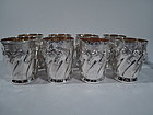 Set of 8 Sterling Silver Mint Julep Cups with Horse Frieze by Galmer