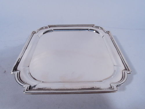 Fine English Sterling Silver Small Square Salver Tray 1898