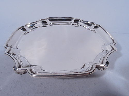 Edwardian English Sterling Silver Cartouche Salver Tray 1903