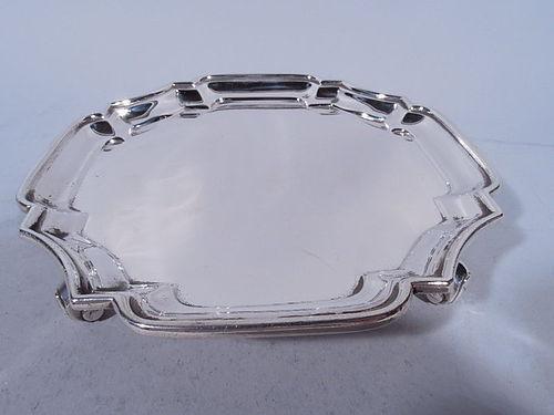 Edwardian English Sterling Silver Cartouche Salver Tray 1903