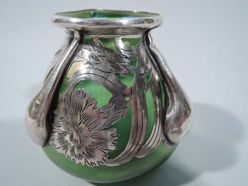 Unusual Alvin Green Bud Vase with Floral Silver Overlay