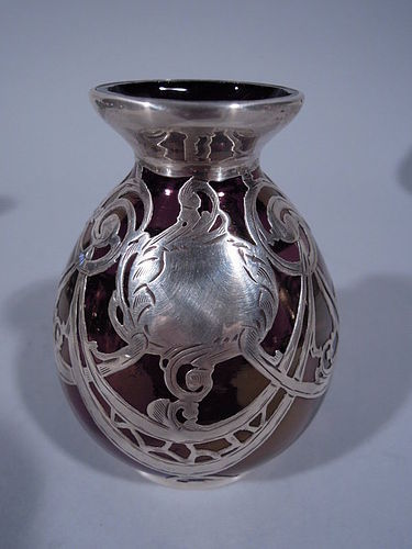 Art Nouveau Iridescent Purple Glass Silver Overlay Bud Vase