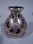 Art Nouveau Iridescent Purple Glass Silver Overlay Bud Vase