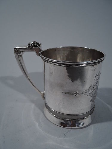 Gorham Coin Silver Baby Cup with Stylized Ornament C 1865