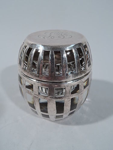 Antique American Glass and Silver Overlay Novelty Barrel Inkwell