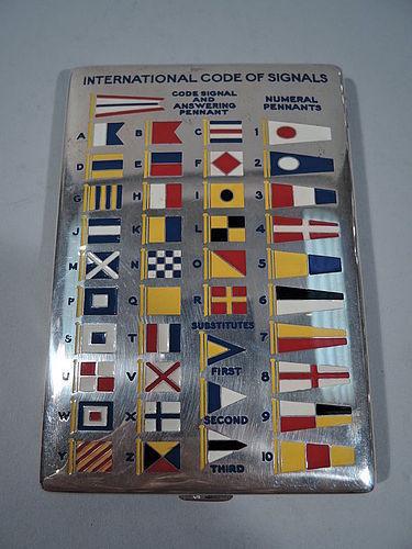 Tiffany Sterling Silver & Enamel Nautical Signal Flags Cigarette Case