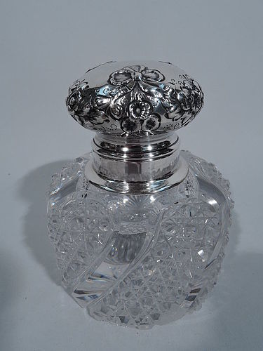 Antique Sterling Silver & Brilliant-Cut Glass Inkwell by Shiebler