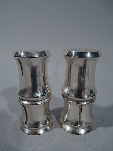 Pair of Tiffany Bamboo Sterling Silver Salt & Pepper Shakers