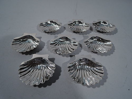 Set of 8 American Modern Sterling Silver Scallop Shell Nut Dishes