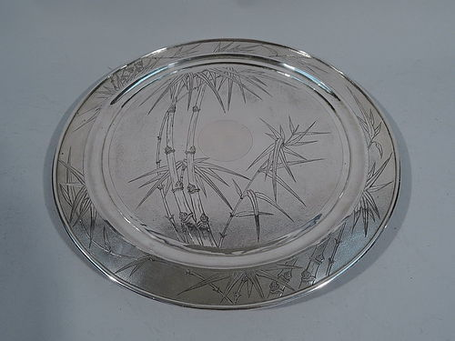 Chinese Export Silver Bamboo Salver Tray