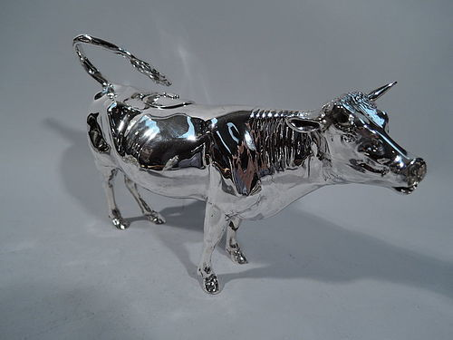 A Big Beautiful Bovine - Dutch Sterling Silver Cow Creamer