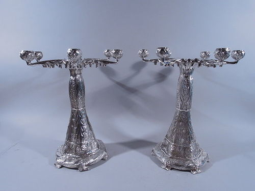 Pair of Tiffany Sterling Silver Aesthetic Style 6-Light Candelabra