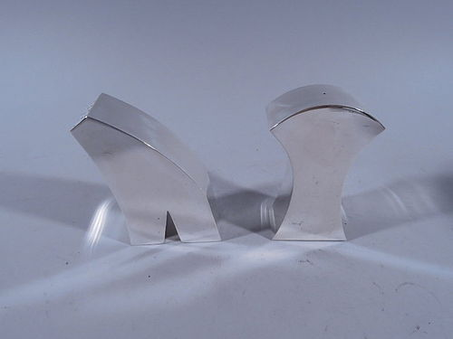 Exciting Modern Abstract Sterling Silver Salt & Pepper Shakers