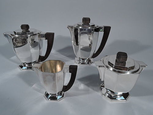 French Modern Art Deco Silver Coffee and Tea Set C 1930