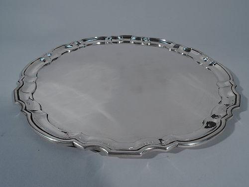 Tiffany Sterling Silver Georgian Tray with Piecrust Rim