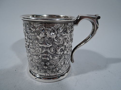JE Caldwell Repousse Sterling Silver Baby Cup C 1870