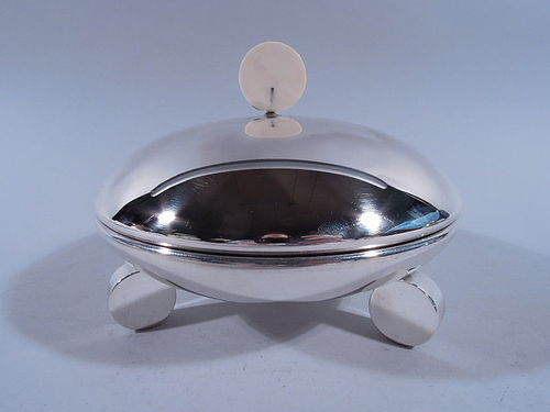 Unusual Modern Sterling Silver Covered Serving Dish