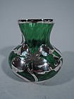 Art Nouveau Quilted Emerald Glass Silver Overlay Vase by La Pierre