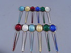 Snazzy Set of 12 Danish Modern Sterling Silver & Enameled Spoons