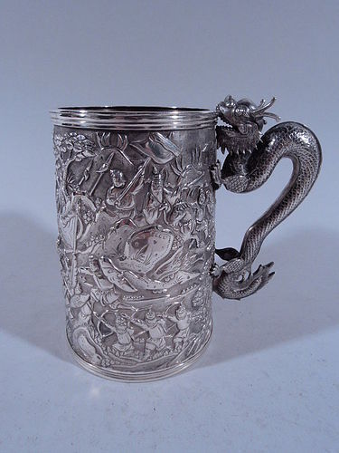 Antique Chinese Export Silver Warrior Mug