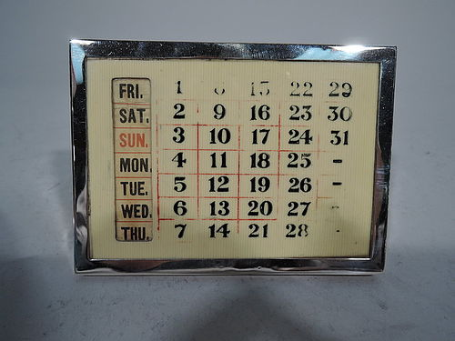 English Sterling Silver Perpetual Calendar