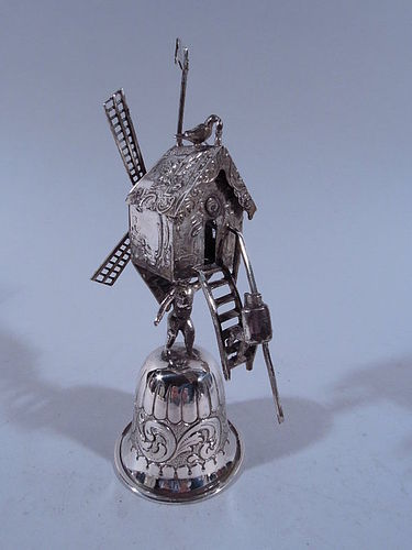 Antique Dutch Silver Ceremonial Cup with Nostalgic Windmill