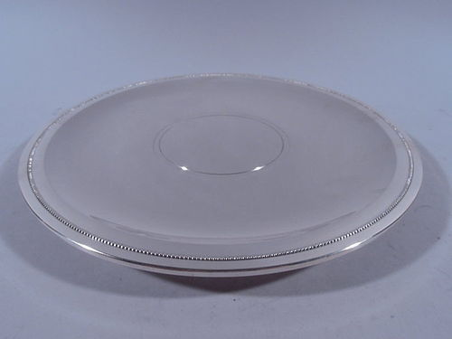 Tiffany Spare & Modern Sterling Silver Footed Serving Plate C 1950