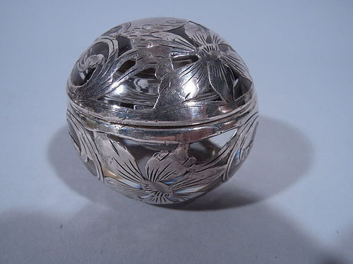 American Art Nouveau Globular Glass Inkwell with Silver Overlay