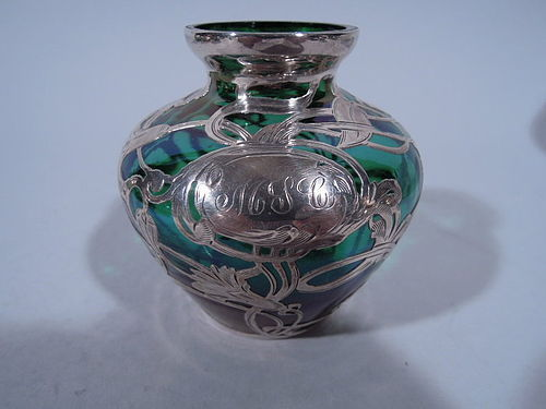 Art Nouveau Emerald Glass Bud Vase with Silver Overlay