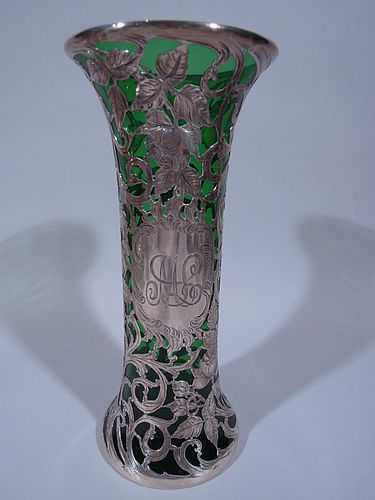 Alvin Art Nouveau Emerald Glass Vase with Floral Silver Overlay