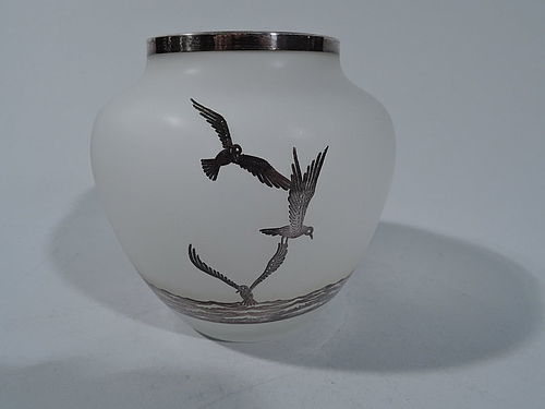 Antique Camphor Glass Vase with Pictorial Silver Overlay - Seascape