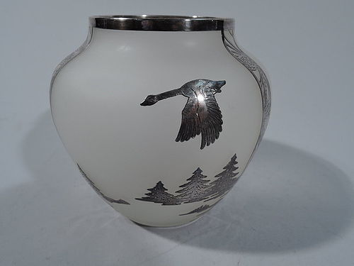 Antique Camphor Glass Vase with Pictorial Silver Overlay - Landscape