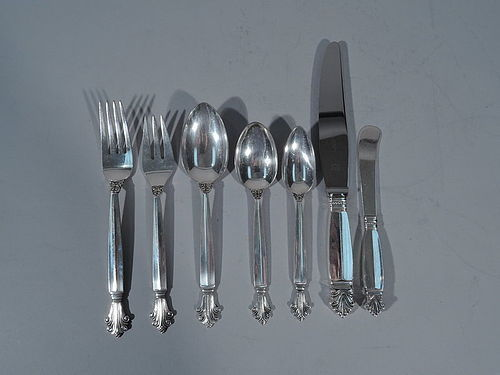 Georg Jensen Acanthus Sterling Silver Dinner Flatware Set � 70 Pieces