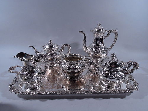 Gorham Hand Hammered Sterling Silver Coffee & Tea Set on Tray