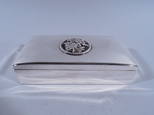 American Modern Sterling Silver Box with Flowers
