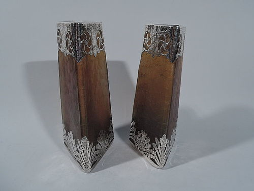Pair of Antique Iridescent Glass Vases with Silver Overlay